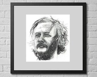 Bon Iver pen portrait in unfinished style Illustration Print - American singer / songwriter