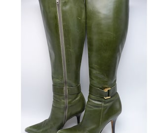 MICHAEL KORS Green Leather Knee High Boots