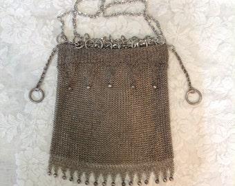 Antique silver metal mesh handbag purse bag drawstring European hallmark chainmaille chainmail Steampunk Art Deco flapper fashion accessory