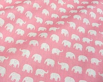 Laminated Waterproof Animal Elephant fabric Pink Kawaii  50cm