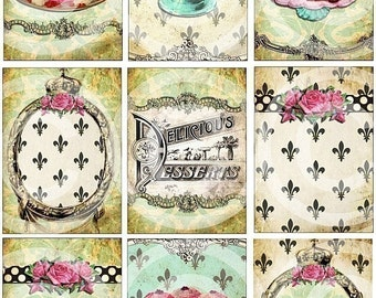 SWeeTs Cupcakes Chocolate Dessert Fleur de Lis atc aged stained antique vintage paper DiGiTaL Collage SHeeT U-PRINT altered art hang tags handmade greeting card making supplies hang tags journals albums scrapbooking