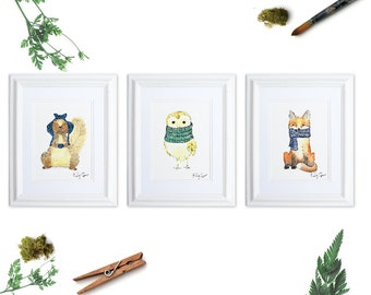 Woodland Animals Art Print Set of 3, Woodland Nursery Wall Art, Squirrel Fox Owl Art Prints, Animals in Scarves, Knitter Gift, Whimsical Art