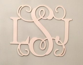 Monogram - Unpainted Wood Monogram, Baby Nursery Decor, Wall Hanging Letters