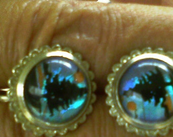 Midnight Pine tree earrings