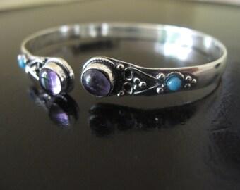 Amethyst Silver plated Bracelet, Tribal Bracelet, Ethnic Bracelet, Tribal silver plated bracelet, Bangle