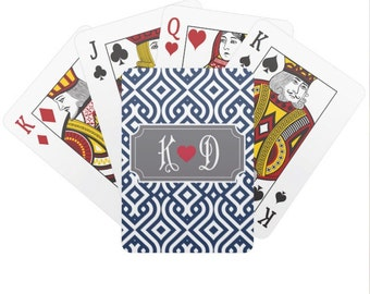Personalized Playing Cards with Monogram - Custom Poker Cards - Bridge Cards - Deck of Cards - Gift for Him or Her