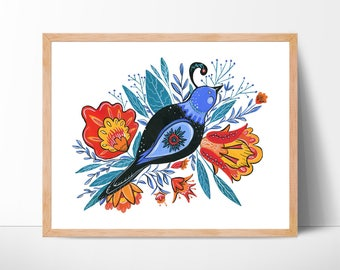 Bird Watercolor Print Folk Art Print Bird Painting Bird Art Living Room Wall Art Wall Decor Bird Illustrations Folk Art Bird Print Art Print