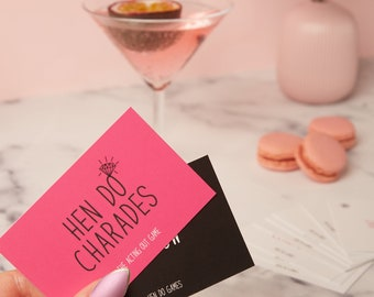 Hen Do Charades - Hen party Games - Hen Party charades - hen night game - bachelorette game - bridal shower game - charades