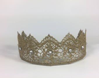 Elegant Antique Gold Lace Crown with Swarovski Crystal - Gold Lace Tiara - Smash Cake Crown - Photo Prop