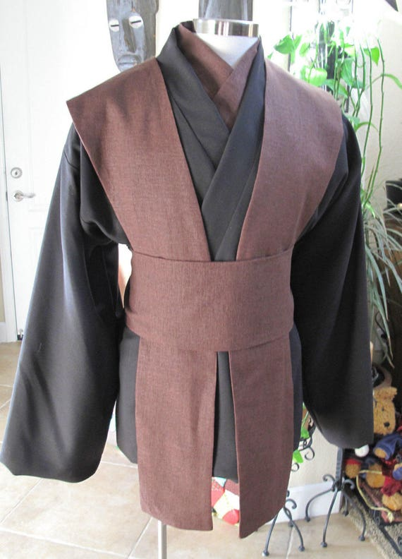 Star Wars dark brown Jedi tunic, chocolate brown tabards & sash/obi 5 pieces
