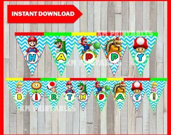 Printable Mario Bros Banner instant download, Mario Bros Birthday Banner, Printable Mario Bros Triangle Banner