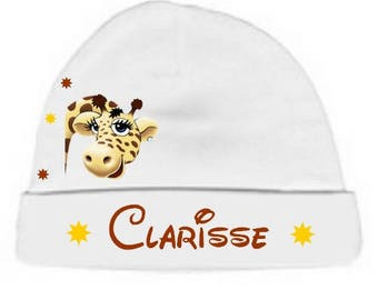 Personalized with name White Giraffe baby Hat