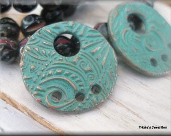 Handmade Solid Copper Earring Components - Green Patina!