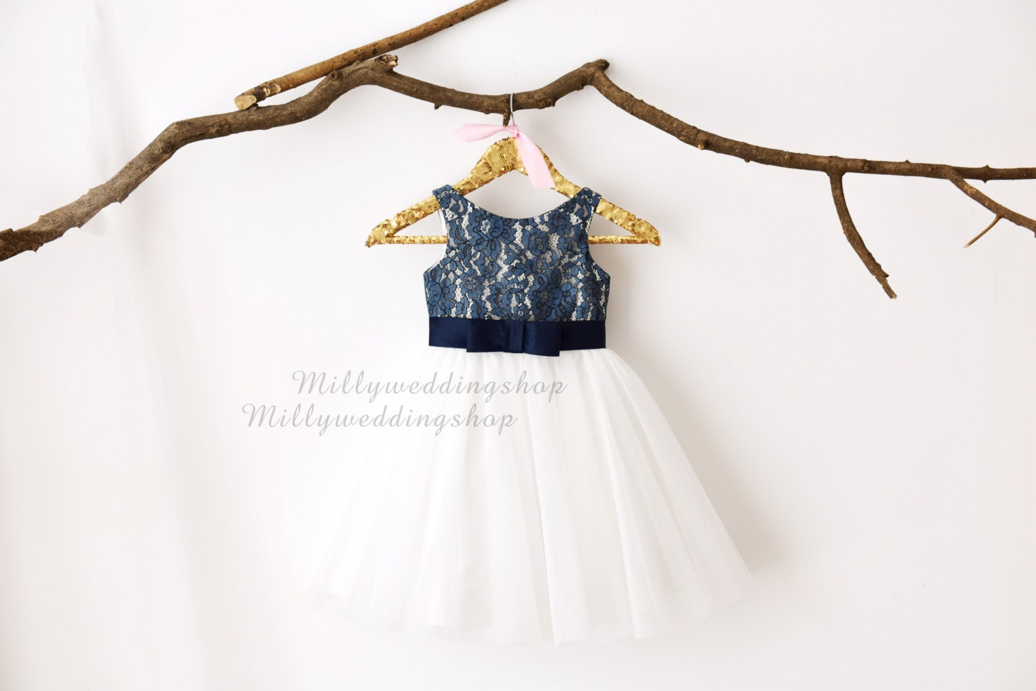 Navy blue lace ivory tulle flower girl dress m0029 izmirmasajfo Gallery