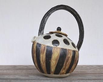Rustic Stoneware Teapot Polka Dots and Stripes   - Stoneware teapot