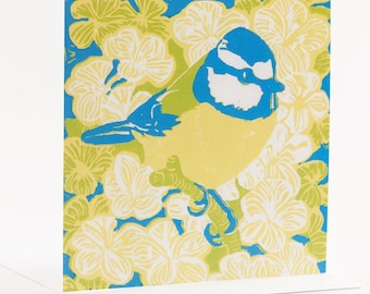 Blue tit yellow belly square greeting card