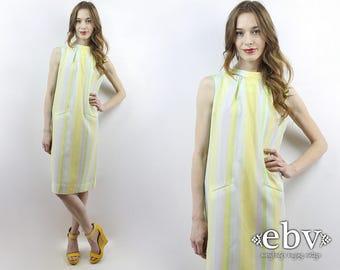 1960s Dress 60s Dress 60s Mod Dress 70s Dress Striped Dress Summer Dress Vintage Sundress 60s Sundress Yellow Sundress Shift Dress M L