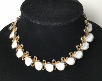 Vintage 1950's White Milk Glass Petals Necklace