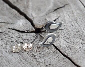 Handmade silver stud earrings