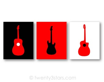 Acoustic and Electric Guitar Posters, Guitars Triptych, Gift for Guitar Player, Guitar Player Art, Guitar Nursery Art, Guitar Canvases