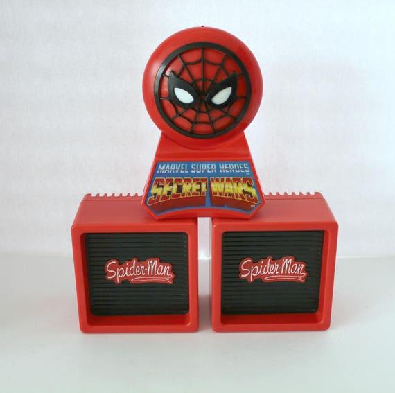 Vintage Spiderman AM/FM Radio and Speakers, 1984 Nasta Marvel Super Heroes Secret Wars Table Top Radio