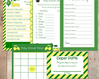 Green and Yellow Baby Shower Games Party Pack Bundle - FIVE GAMES for the Price of FOUR!