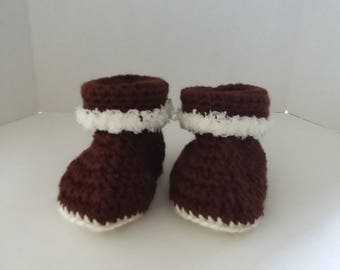 Brown Cuffed Boots with Fur Size 6-12 Months