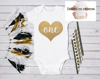 Personalised Baby Girl 1st Birthday Bodysuit / One Babygrow / Vest Top / Gold / Bling / Princess / Photo Op / First / Cake Smash