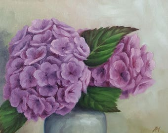 Original Contemporary Oil Painting - Hydrangea Blooms