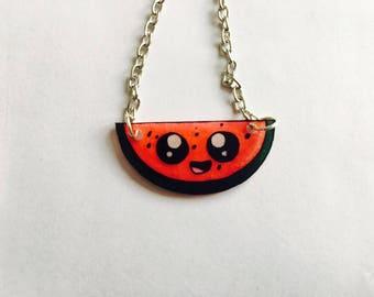 Watermelon Kawaii chain silver necklace, kawaii, shrink plastic necklace necklace