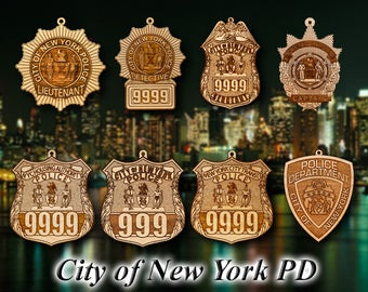 Personalized Wooden New York City Police Shield Christmas Ornament
