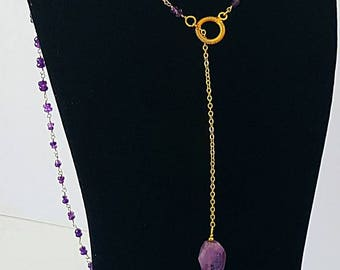 Amethyst lariat long Necklace