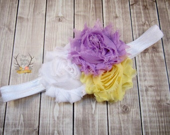 Lavender Yellow White Baby Headband - Purple - Newborn Infant Baby Toddler Girls Adult Wedding Spring