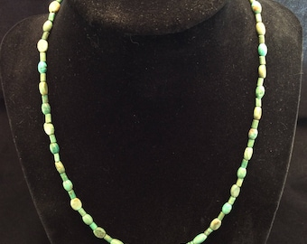 Sterling Silver Turquoise Bead Necklace, Turquoise Choker