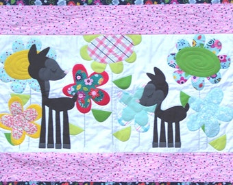 Children's Quilt: Love You Deerly. Nursery Quilt. Crib blanket. Applique quilt. embroidery quilt. small child quilt. Baby girl quilt.