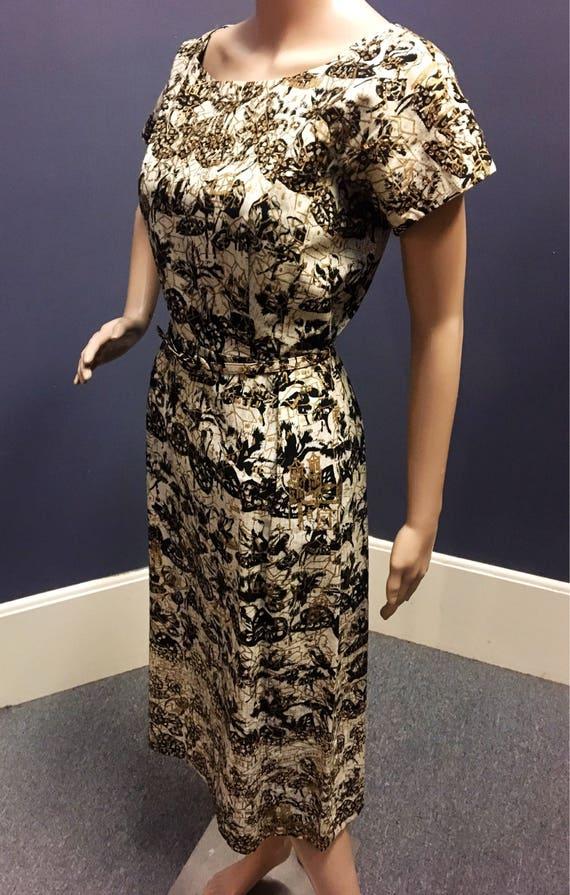 Vintage 50s/60s  Cotton Hand Painted Gold, Black, Beige Sequin Batik Dress w Belt 28