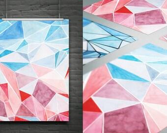 Watercolour background.Polygonal..DIY