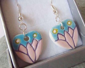 Ceramic Pottery Heart Earrings, Lotus Earrings, Nature Jewellery, Flower  Earrings, Spiritual Jewelry, Heart Jewellery, Meditation, Yoga