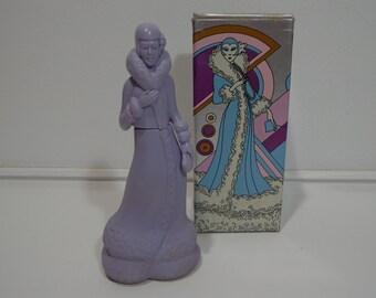Vintage 70s Avon Fashion Figurine Roaring Twenties Unforgettable Cologne Perfume Bottle in Box, Rare Collectors Gift