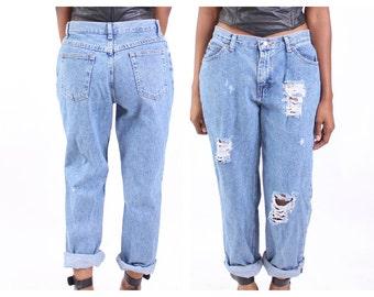 All SIZES High Waist Destroyed Boyfriend Jeans Plus Sizes