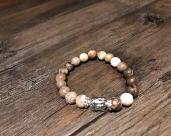 Wood Opalite 8mm Semi-Precious Stone Bracelet