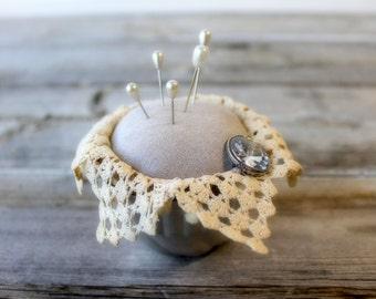 Primitive Pin Cushion, sewing gift,  tin tart pin cushion, Handmade, sewing supplies, needle  holder, sewing notions