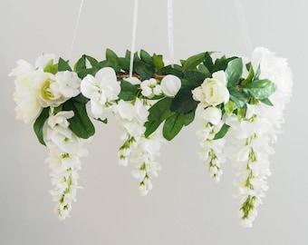 Flower chandelier etsy white flower mobile flower chandelier floral mobile nursery decor wedding decor aloadofball Image collections