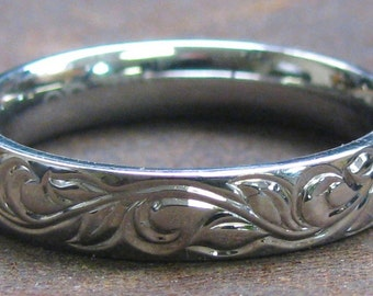 Vine and Leaf Stainless Steel Ring Hand Engraved Made to Order