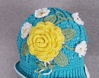 Girls Flower Easter Cloche Style Hat
