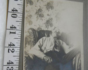 Late 1800's Post Mortem Tin Type Photo of Man/Father/Grandfather Posed in Chair,Death Photo,Mans Funeral Photo  {G}