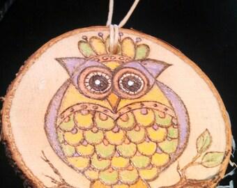 Owl Wood Burned Ornament
