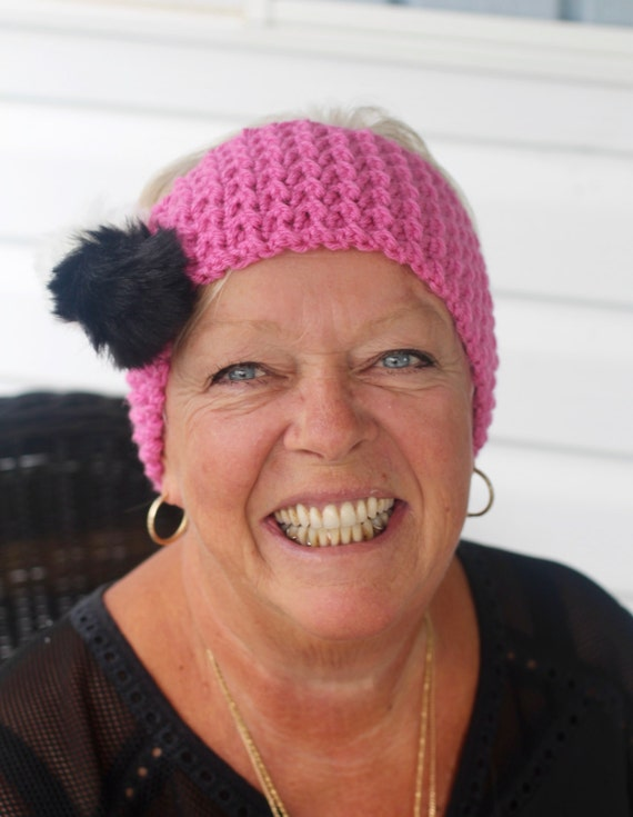Faux Fur Pom Pom Ear Warmer Pattern  - Adult and Children sizes