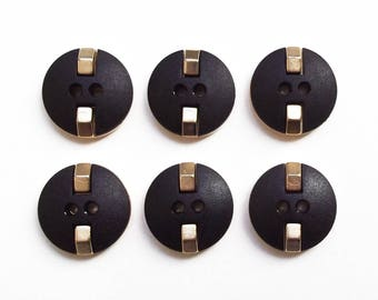6 buttons round black and gold 19 mm acrylic