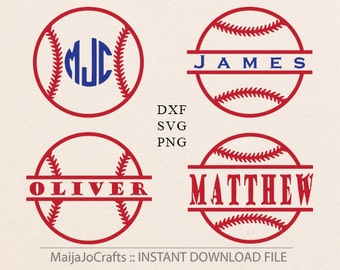 Baseball Split monogram SVG cut files DXF file instant download silhouette cameo cricut designs cut file Vector file baseball PNG Clip art